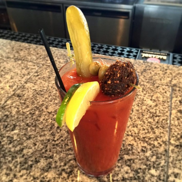 Bloody Mary with Falafel Pickle and Olives - Falafel Guys Milwaukee